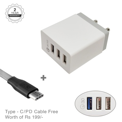 LCARE 18W 3-Port Fast Charging Mobile Charger + 1.2M Type C Cable