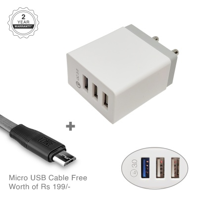 LCARE 18W 3-Port Fast Charging Mobile Charger + 1.2M Micro USB Cable
